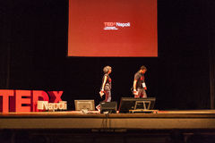 TED X NAPOLI conceptual design conference. TEDx is a program of local, self-organized events that bring people together to share a TED-like experience. Our event Stock Image