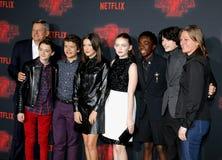 Ted Sarandos, Noah Schnapp, Gaten Matarazzo, Millie Bobby Brown, Sadie Sink, Caleb McLaughlin and Finn Wolfhard. At the Netflix`s season 2 premiere of `Stranger Stock Images
