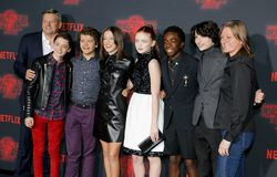 Ted Sarandos, Noah Schnapp, Gaten Matarazzo, Millie Bobby Brown, Sadie Sink, Caleb McLaughlin and Finn Wolfhard. At the Netflix`s season 2 premiere of `Stranger stock photos