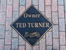 Ted Turner plaque. Former Atlanta Braves owner Ted Turner's plaque outside the entrance the Braves Museum Stock Images