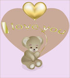 Teddie's bear with a gold balloon heart Royalty Free Stock Photos