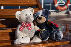 Teddies σε ένα ταχύπλοο σκάφος Στοκ Φωτογραφία