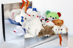 Teddies. Gift-wrap with a little white teddy bears inside Royalty Free Stock Photo