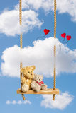 Teddies On Swing Stock Photo