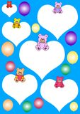 Teddies on white hearts Stock Photos