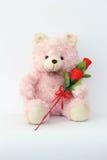Teddy αντέχει, ρόδινα και κόκκινα τριαντάφυλλα στοκ εικόνα