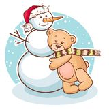 Teddy και χιονάνθρωπος Στοκ εικόνες με δικαίωμα ελεύθερης χρήσης
