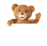 Teddy με την κενή κάρτα Στοκ φωτογραφία με δικαίωμα ελεύθερης χρήσης