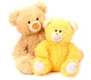 Δύο teddy αρκούδες παιχνιδιών που απομονώνονται στο άσπρο υπόβαθρο στοκ εικόνες