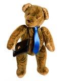 Teddy als zakenman met aktentas, geïsoleerd knipsel Stock Foto