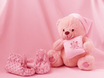 Teddy ans shoes. Teddy and shoes for girls Royalty Free Stock Photo