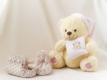 Teddy ans shoes. The shadow with shoes ans Teddy Stock Photography