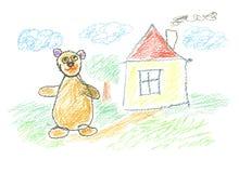 Teddy art. Teddy bear near the home Royalty Free Stock Photo