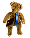 Teddy as a businessman with briefcase, isolated cutout Stock Photo