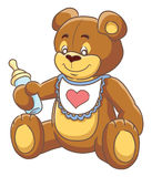 Teddy and baby bottle. Cheerful Teddy-bear holding a baby-bottle. Vector illustration royalty free illustration