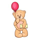 Teddy with balloon and message Royalty Free Stock Image