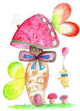 Teddy with balloon visiting a fantasy mushroom house. Watercolor and ink illustration of a teddy bear with a red balloon reaching out towards a curious fantasy Stock Illustration
