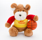Teddy and basketball ball Royalty Free Stock Images