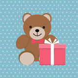Teddy bea. R with gift box, children toy. Greeting card, poster, template. Vector illustration Stock Image