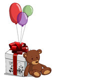 Teddy bear. With a gift and balloons Royalty Free Stock Photo