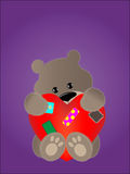 Teddy bear. Shy soft teddy bear and big heart with patches. Illustration Stock Photography