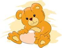 TEDDY BEAR. The Plush teddy bear with rose heart Stock Images
