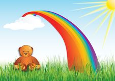 Teddy bear. Bear happy by sunny day royalty free illustration