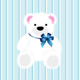 Teddy bear. For baby boy and blue background Stock Photo