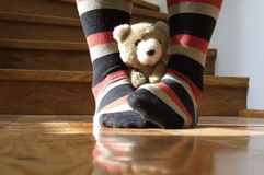Teddy bear. A brown teddy bear with legs wearing striped socks Royalty Free Stock Image