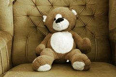 Teddy bear. Shabby teddy bear sitting in shabby armchair Royalty Free Stock Photo