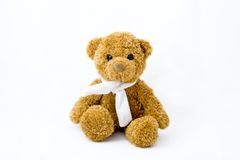 Teddy bear. With scarf isolated over white background Royalty Free Stock Photos