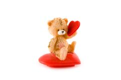 Teddy bear. Picture of teddy bear with little heart isolated on white Stock Photos