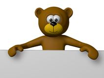 Teddy bear. And blank sign - 3d cartoon illustration Royalty Free Stock Photography