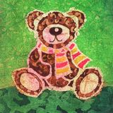 Teddy bear. Image of my artwork with a Teddy bear with a scarf Stock Images