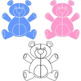 Teddy Bear. Simple  illustration of blue, pink and black and white teddy bears for design or decals Royalty Free Stock Photos
