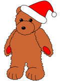 Teddy Bear. Cartoon illustration of standing teddy bear with christmas hat Stock Image