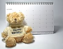 Teddy Bear. And calendar royalty free stock photography