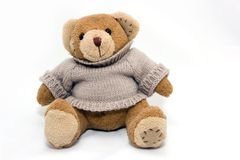 Teddy bear. Sitting on white background Royalty Free Stock Photos