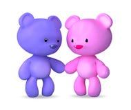 Teddy bear. 3d cartoon character teddy bear on white Stock Photography