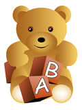 Teddy bear with abc cubes. Isolated stock illustration