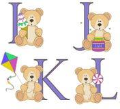 Teddy bear alphabet i j k l with illustrations Stock Image