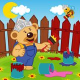 Teddy Bear And Bee Painter Stock Photography