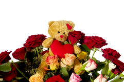 Teddy Bear And Roses Royalty Free Stock Photo