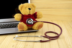 Free Teddy Bear And Stethoscope In Children Clinic Concept. Royalty Free Stock Photo - 67928645