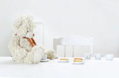 Teddy Bear And Tea Stock Photos