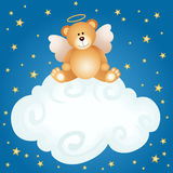 Teddy bear angel baby cloud background Stock Photos