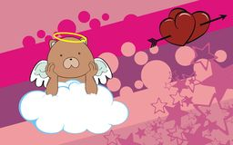 Teddy bear angel cherub baby cartoon cloud background Royalty Free Stock Photos