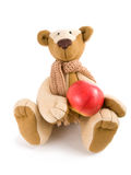 Teddy bear with apple Royalty Free Stock Photography