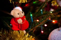 Teddy bear as Chritmas tree decoration Stock Photo