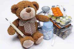 Teddy bear as a doctor stock image